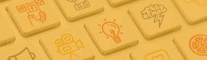 Colorful digital marketing icons on a keyboard with a yellow overlay