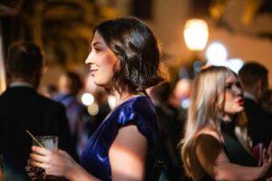 An attendee of the LogicMonitor black tie gala looking sideways