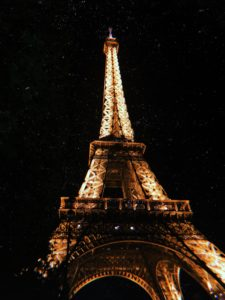 The Eiffel Tower in Paris, France at night