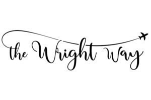Pretty script logo for The Wright Way, a travel blog