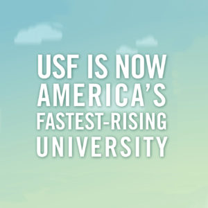 An animated video highlighting USF as America's fastest-rising University