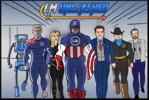The cartoon cover for 'LM Unleashed', an animated video project made to present at a tech company's sales conference