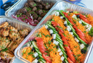 Catering dishes from Kismet Mediterranean Grill