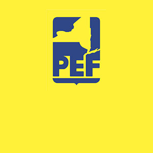 Yellow and blue logo for the Public Employees Federation of New York