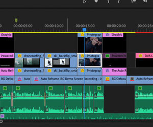A video sequence in progress being made in Adobe Premiere Pro