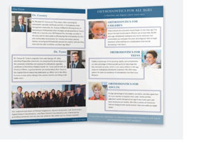 Graphically designed welcome brochure for an orthodontic practice's rebrand
