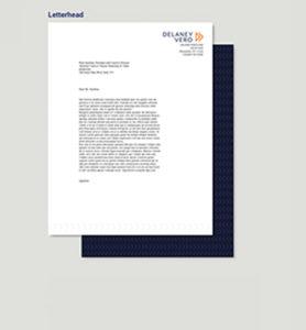 Custom-designed letterhead for a law firm's rebrand