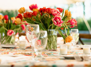 Beautiful, colorful flower centerpieces at the Saint Gregory's School Gala