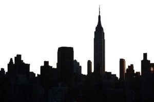A high-contrast black and white skyline of The Empire State Building