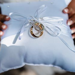 Close up shot of wedding rings taken by our in-house photographer