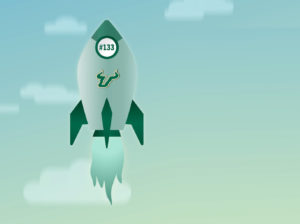 An animated rocket with the USF logo that represents the University's rising educational rankings