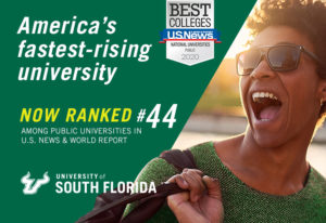 A news clipping announcing that USF is America's fastest-rising University