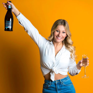 Our social media marketer Sydney holding champage