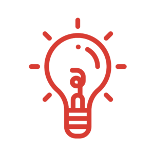 "Red light bulb icon with the Akullian Creative ""a"" in the center"