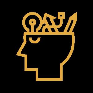 Yellow creative mind line icon
