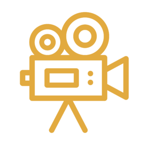 Yellow video camera line icon