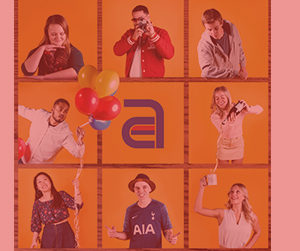 The entire Akullian Creative team in a cohesive Instagram grid with a red overlay
