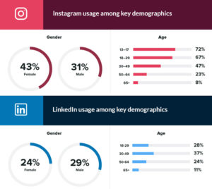 Graphs depicting the differences in user demographics for Instagram and LinkedIn