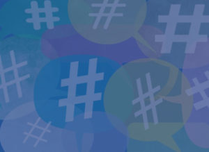 Colorful hashtag symbols for social media with a blue overlay