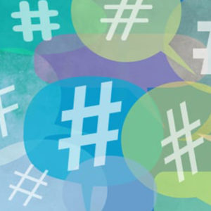 Colorful hashtag symbols for social media