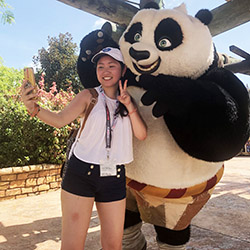 Our graphic designer Anne with Po the Kung Fu Panda at Universal Studios