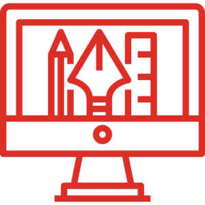A graphic design line icon, including a pencil, pen, ruler, and computer screen