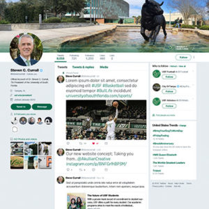 USF's President Steven Curell's Twitter profile, with banners designed by Akullian Creative