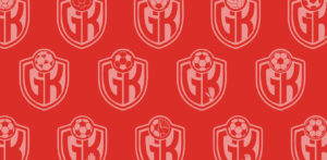 Different variations of the GoalKeeper Life logo against a red background