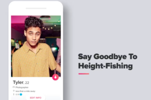 An April Fool's Day advertisement from Tinder about Height-Fishing