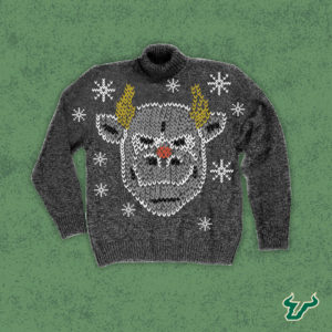 A graphically designed Christmas sweater depicting USF's mascot, Rocky the Bull, as Rudolf the Red Nosed Reindeer
