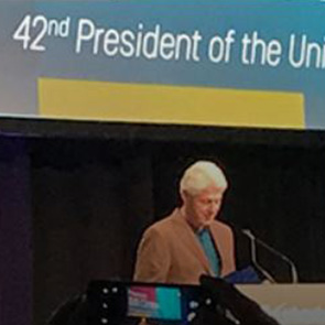 Former President Bill Clinton as the keynote speaker for a user conference in Miami, FL