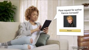A woman on an iPad placing a request through Amazon Publishing for author Patricia Cornwell