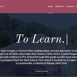 A custom-edited website template for a private elementary school in Albany, NY