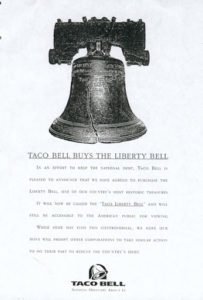 An article clipping stating that Taco Bell bought the Liberty Bell as part of a clever marketing April Fool's joke
