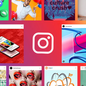 Screenshots of the best creative Instagram pages, on a colorful gradient background