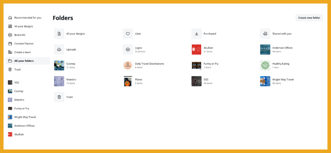 Folders for multipurpose design software