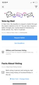 instagram update adds voting registration