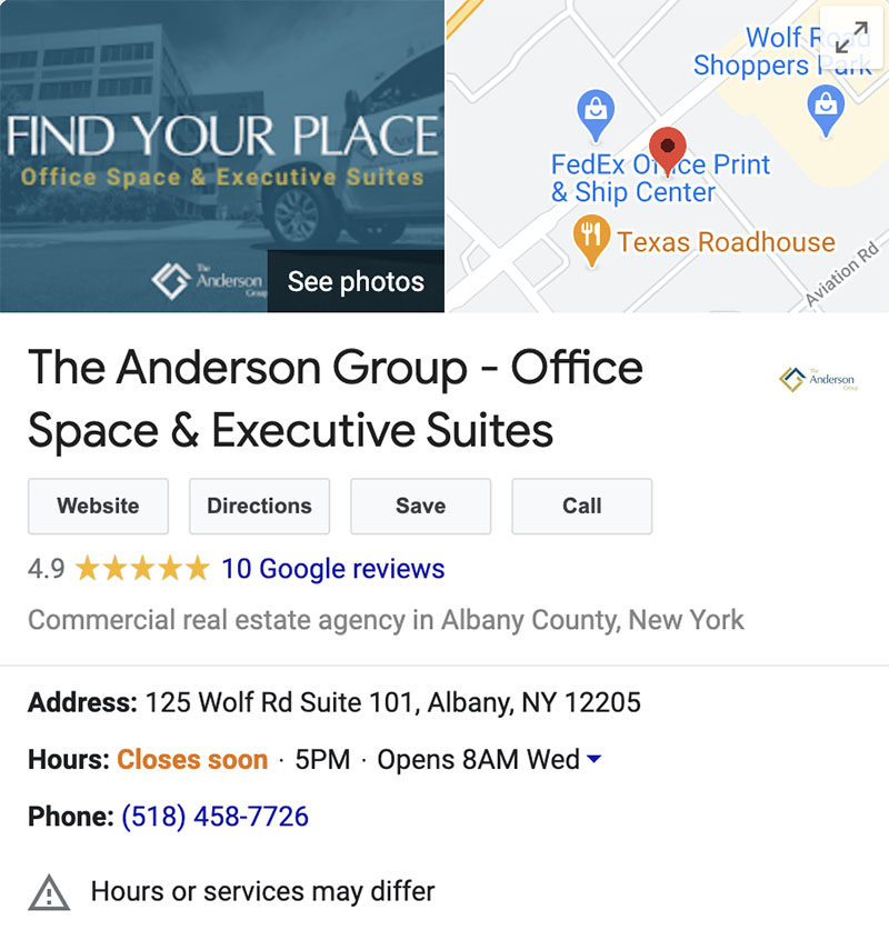 Good example of Google My Business by The Anderson Group