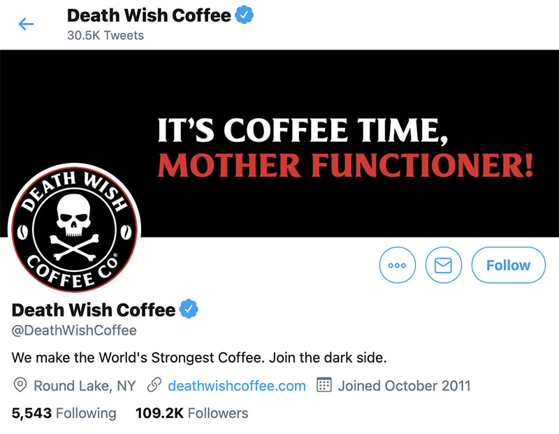 Example of a business using good social media image size resolutions. Death Wish Coffee's profile picture and cover photo on Twitter